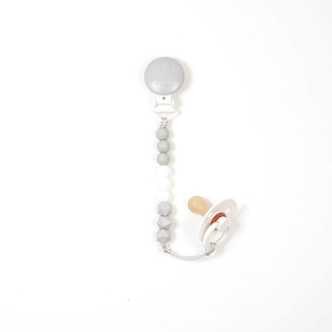 Bulle Bijouterie Bulle Bijouterie - Trio Pacifier Clip, Sage, White and Light Grey