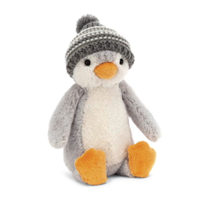 Jellycat Jellycat - Bashful Penguin Grey Bobble Hat 7''