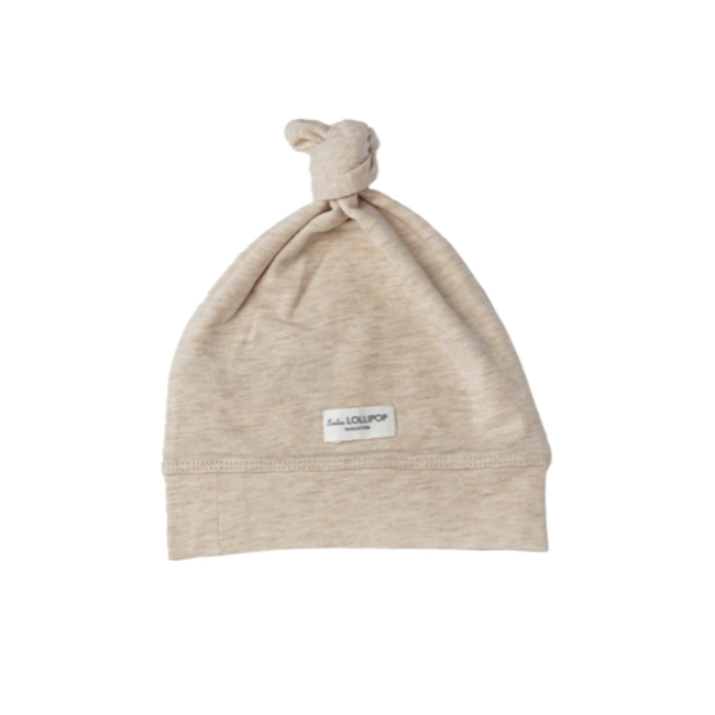 Loulou Lollipop Loulou Lollipop - Top Knot Beanie, Heather Oatmeal