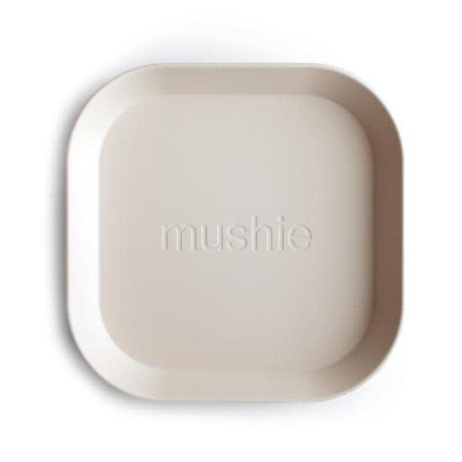 Mushie Mushie - Set of 2 Square Plates, Ivory
