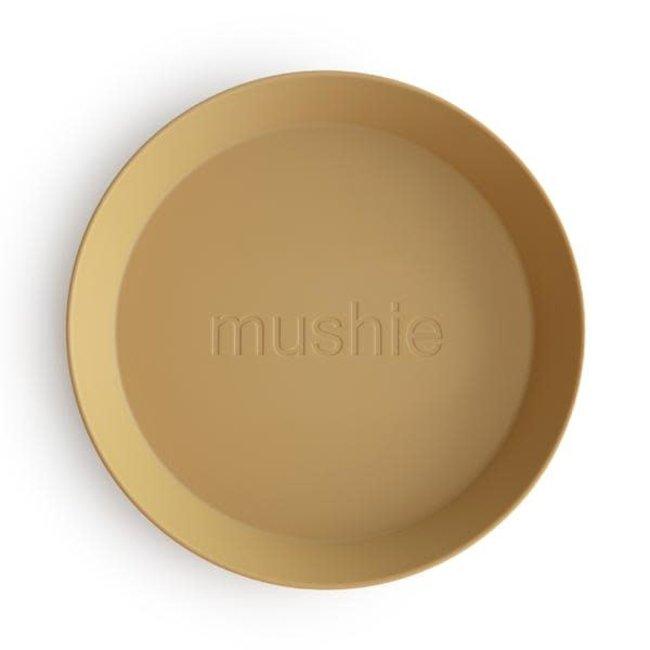 Mushie Mushie - Set of 2 Round Plates, Mustard