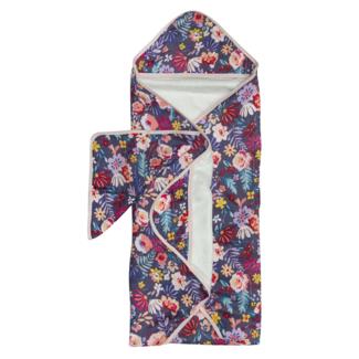 Loulou Lollipop Loulou Lollipop - Bamboo Muslin Hooded Towel and Washcloth Set, Dark Field Flowers