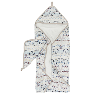 Loulou Lollipop Loulou Lollipop - Bamboo Muslin Hooded Towel and Washcloth Set, Fair Isle