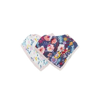 Loulou Lollipop Loulou Lollipop - Muslin Bib Set of Two, Dark Field Flowers