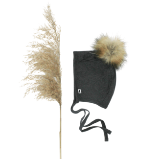 Little & Lively Little & Lively - Baby Brimless Pom Pom Bonnet, Charcoal