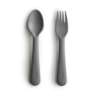 Mushie Mushie - Fork and Spoon Set, Smoke