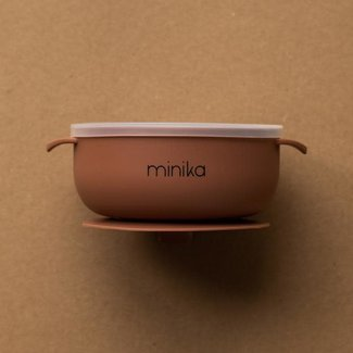 Minika Minika - Silicone Bowl and Transparent Lid, Cocoa