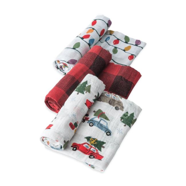 Little Unicorn Little Unicorn - Paquet de 3 Couvertures en Mousseline de Coton/Cotton Muslin Swaddle 3 Pack, Holiday Hault Set