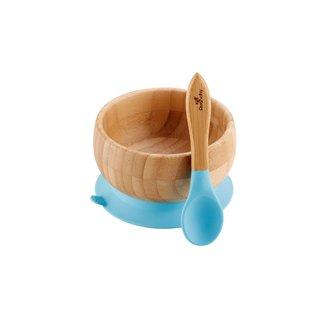 Avanchy Avanchy - Bol à Succion en Bambou et Cuillère, Bleu