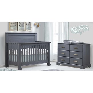 Natart Juvenile DEMO SALE - Natart Taylor - 5-in-1 Convertible Crib and Double Dresser, Graphite