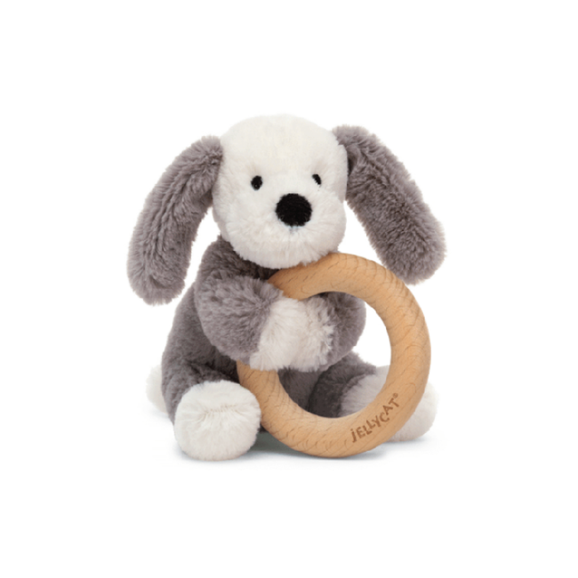 Jellycat Jellycat - Wooden Ring Rattle, Smudge Puppy
