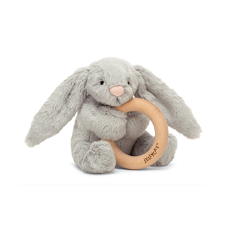 Jellycat Jellycat - Wooden Ring Rattle, Bashful Grey Bunny