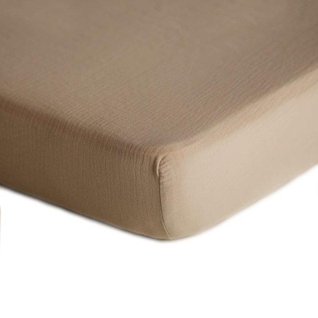 Mushie Mushie - Muslin Fitted Crib Sheet, Natural