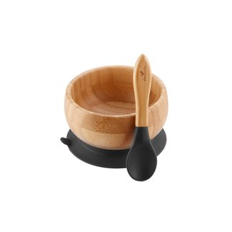 Avanchy Avanchy - Bamboo Suction Baby Bowl and Spoon, Black