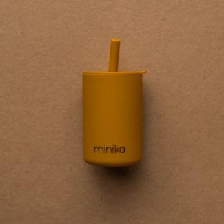 Minika Minika - Cup with Straw and Lid, Ocher