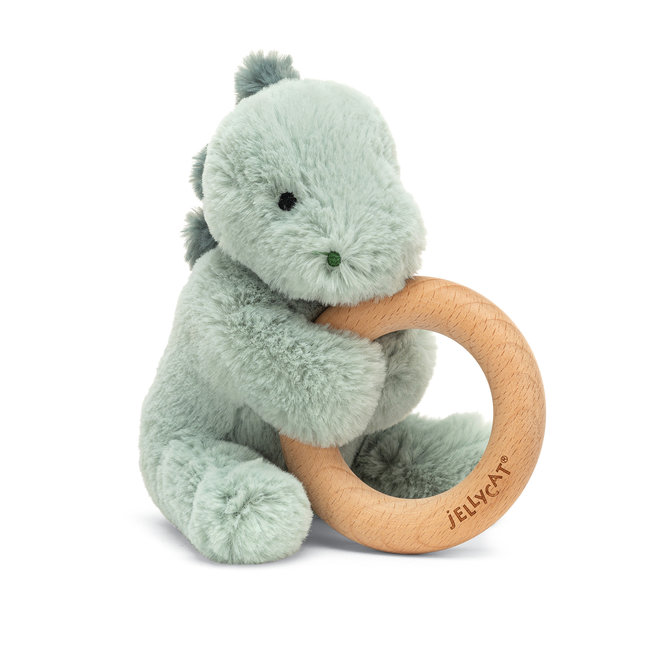 Jellycat Jellycat - Wooden Ring Rattle, Puffles Dino