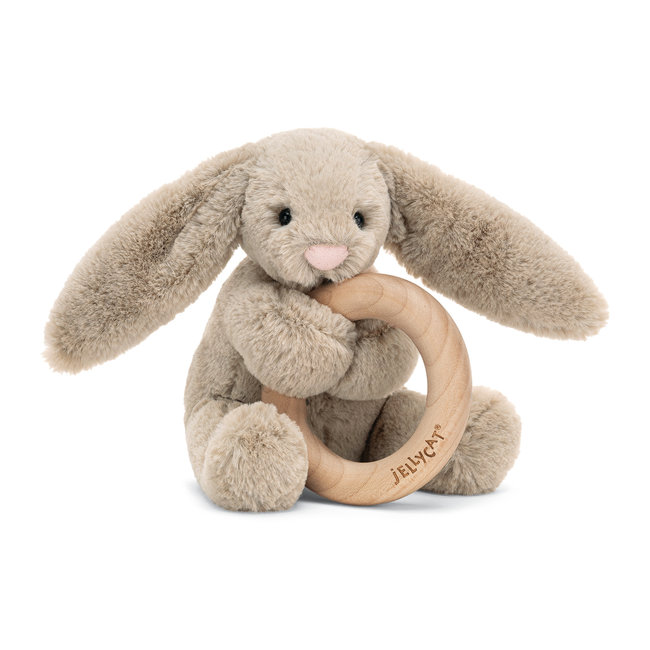 Jellycat Jellycat - Wooden Ring Rattle, Bashful Beige Bunny