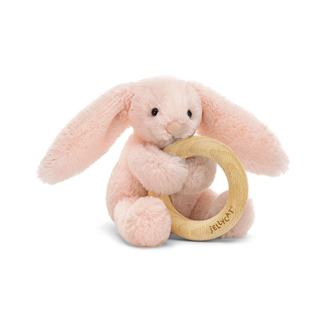 Jellycat Jellycat - Wooden Ring Rattle, Bashful Blush Bunny