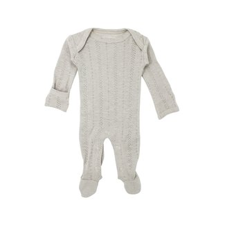 L'ovedbaby L'ovedbaby - Organic Cotton Pointelle Footie, Stone