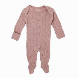 L'ovedbaby L'ovedbaby - Pyjama à Pattes en Coton Biologique Pointelle, Vieux Rose