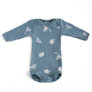 Petit Bateau Petit Bateau - Long Sleeves Onesie, Blue Winter Pattern