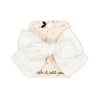 Luciole et petit pois Luciole et Petit Pois - Princess Bow Hair Clip, White Linen