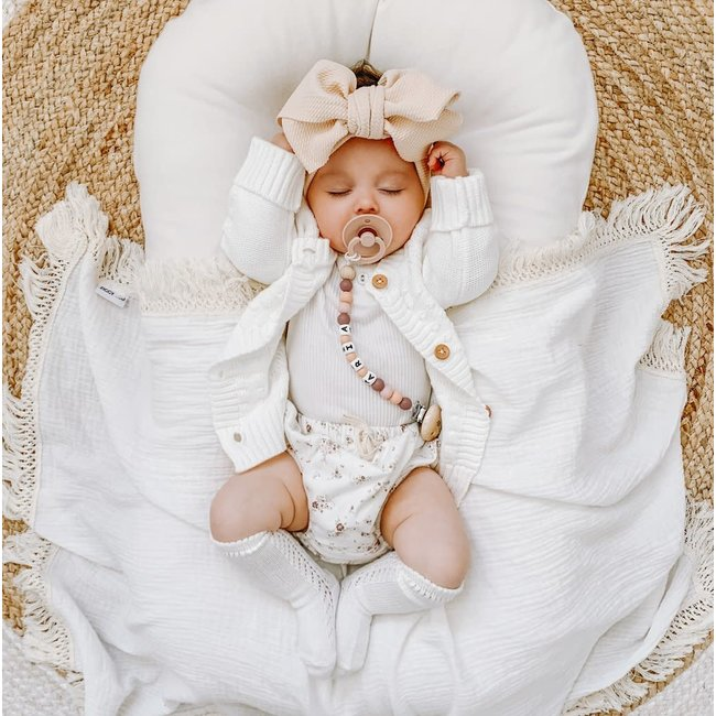 Ziggy Lou By Ziggy Lou - Cream Swaddle with Natural Fringe