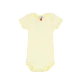 Petit Bateau Petit Bateau - Short Sleeves Onesie, Yellow Lace