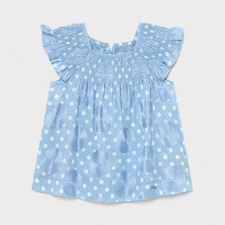 Mayoral Mayoral - Embroidered Dress, Sky Blue