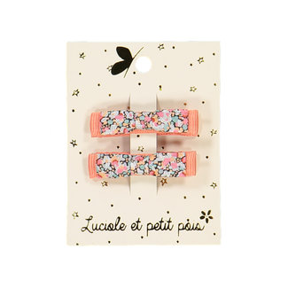 Luciole et petit pois Luciole et Petit Pois - Pair of Mini Kimono Hair Clips, Liberty Pepper Coral