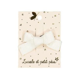 Luciole et petit pois Luciole et Petit Pois - Mini Princess Hair Clip, White Linen