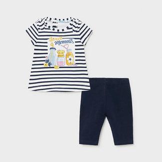 Mayoral Mayoral - T-shirt and Legging Set, Navy Stripes