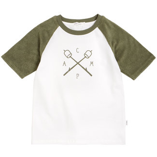 Miles Baby Miles Baby - Camp T-shirt, White and Green