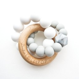Loulou Lollipop Jouet de Dentition Trinity en Bois et Silicone de Loulou Lollipop/Loulou Lollipop Trinity Wood and Silicone Teether, Gris Froid/Cool Grey