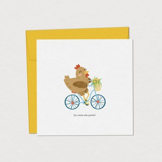Mimosa Design Mimosa Design - Greeting Card, Chicken on Bicycle