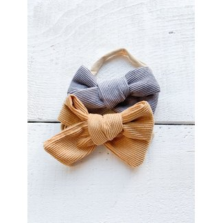 Mini Bretzel Mini Bretzel - Corduroy Bow Headband Duo, Tan and Grey