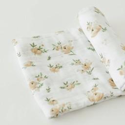 Little Unicorn Couverture en Mousseline de Coton à l'Unité de Little Unicorn/Little Unicorn Single Cotton Muslin Blanket, Rose Jaune/Yellow Rose