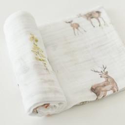 Little Unicorn Couverture en Mousseline de Coton à l'Unité de Little Unicorn/Little Unicorn Single Cotton Muslin Blanket, Petit Cerf/Oh Deer
