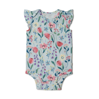 Loulou Lollipop Loulou Lollipop - Short Sleeve Bodysuit, Bluebell