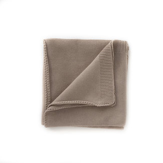 Kindly the label Kindly the Label - Baby Fine Knit Blanket Plain with Ribbed Edges, Hazelnut