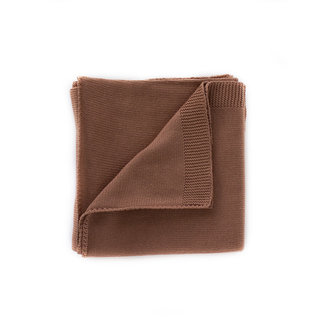 Kindly the label Kindly the Label - Baby Fine Knit Blanket Plain with Ribbed Edges, Claypot