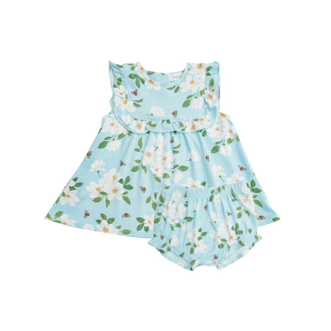 Angel Dear Angel Dear - Ruffle Top and Bloomer, Magnolias Blue