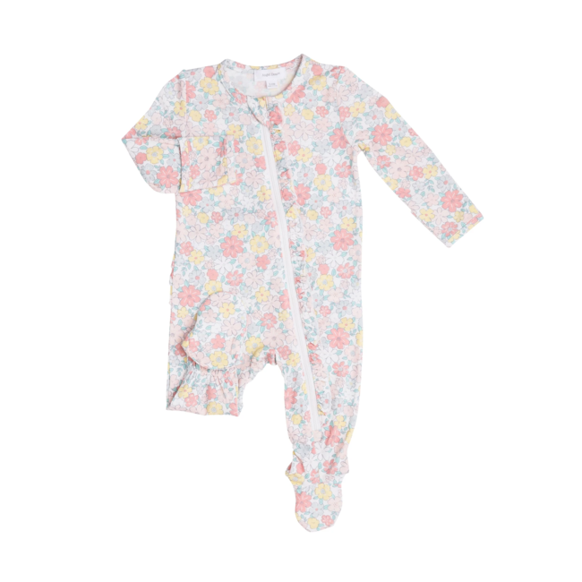 Angel Dear Angel Dear - Ruffle Zipper Footie, Sweet Ditsy