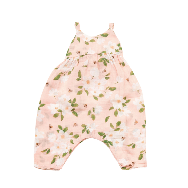Angel Dear Angel Dear - Muslin Tie Back Romper, Magnolias Pink
