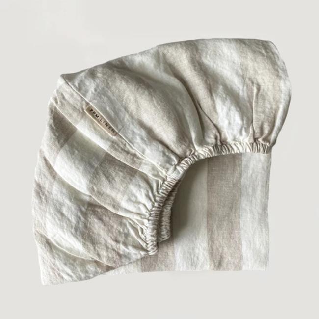7PM Linen 7PM Linen - Linen Fitted Sheet, Natural Wide Stripes