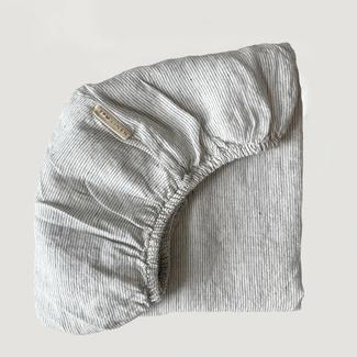 7PM Linen 7PM Linen - Drap Contour en Lin, Mini Rayures