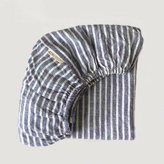 7PM Linen 7PM Linen - Linen Fitted Sheet, See Breeze Stripes