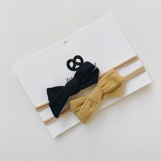 Mini Bretzel Mini Bretzel - Minimalist Bows Headband Duo, Black and Gold