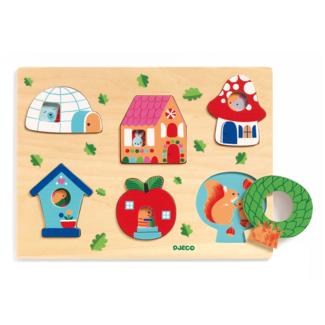 Djeco Djeco - Wooden Puzzle, Coucou-House