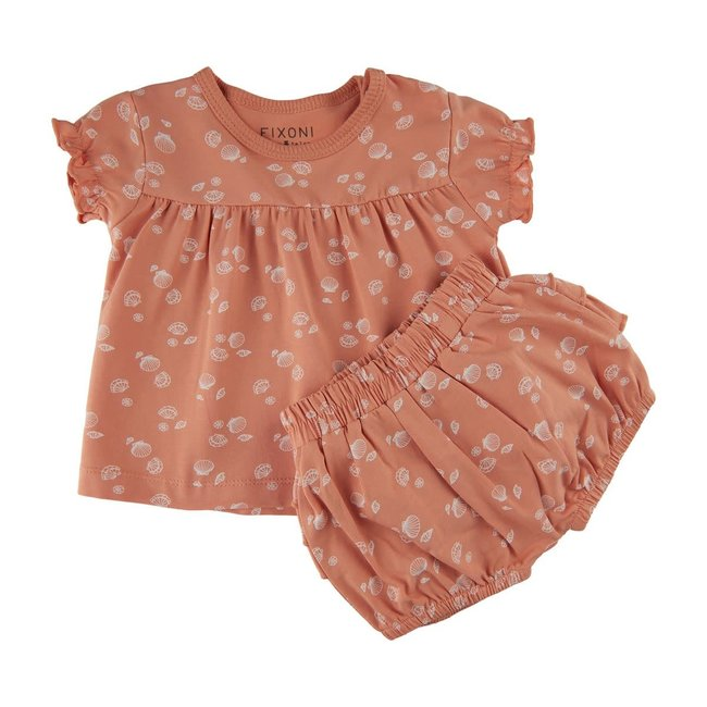 Fixoni Fixoni - Blouse and Bloomers Set, Peach Print